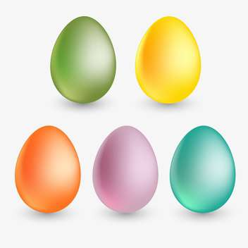 vector illustration of colorful easter eggs on white background - vector gratuit #127852