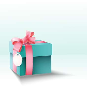 Vector gift box with silk pink bow for holiday background - vector gratuit #127862