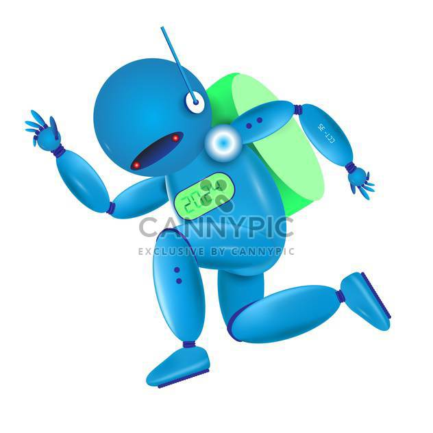 vector illustration of running blue robot on white background - Free vector #127872