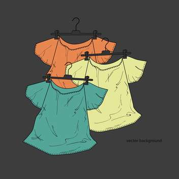 vector background of female shirts on hangers - vector gratuit #127932