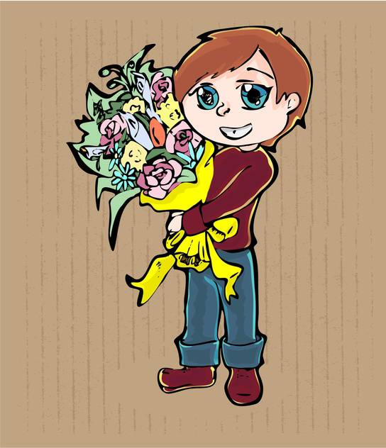 vector illustration of cartoon boy with bouquet of flowers on brown background - vector gratuit #127952