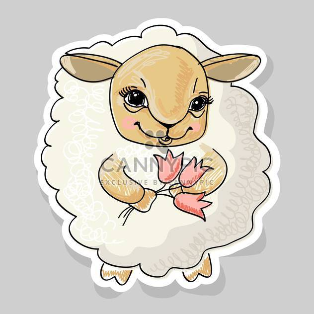 cute cartoon sheep and flowers on grey background - Free vector #127972
