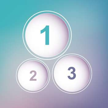 three circles with numbers on blue and viotel background - vector gratuit #127982