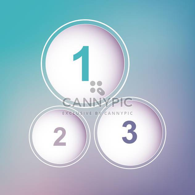 three circles with numbers on blue and viotel background - Free vector #127982