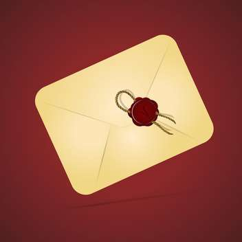 Vintage paper envelope with sealing wax stamp on red background - vector gratuit #127992