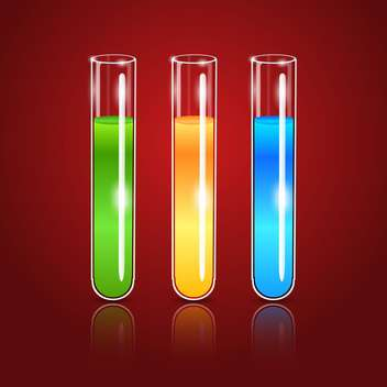 Vector glass test tubes on red background - vector gratuit #128002