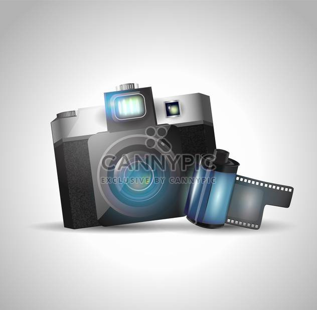 vector illustration of photo camera and film on grey background - Free vector #128032