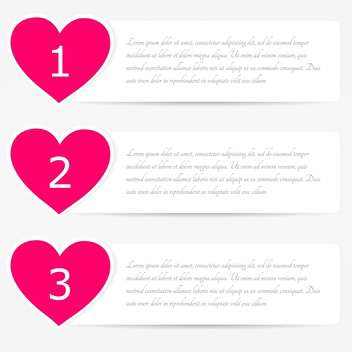 vector set of web heart shaped banners with text place - vector #128102 gratis