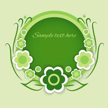 vector illustration of green round shaped floral background with text place - vector gratuit #128112