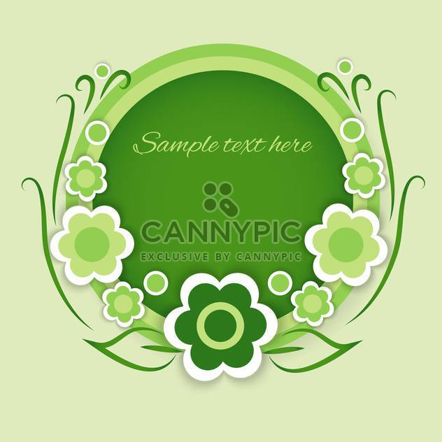 vector illustration of green round shaped floral background with text place - Free vector #128112