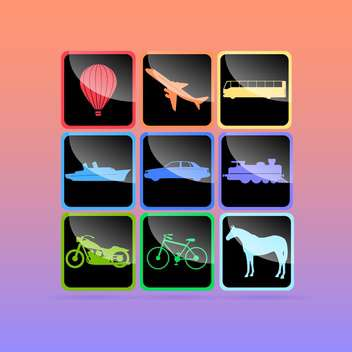 Transportation icons set, vector illustration - vector gratuit #128132