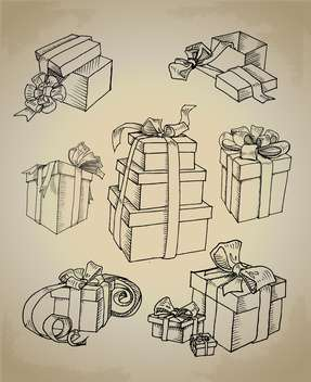 Set with vector gift boxes icons - vector #128142 gratis