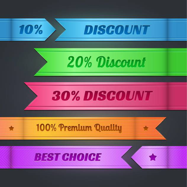 Vector set with colorful discount banners - vector gratuit #128162