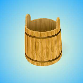Wooden water bucket, vector illustration - бесплатный vector #128202