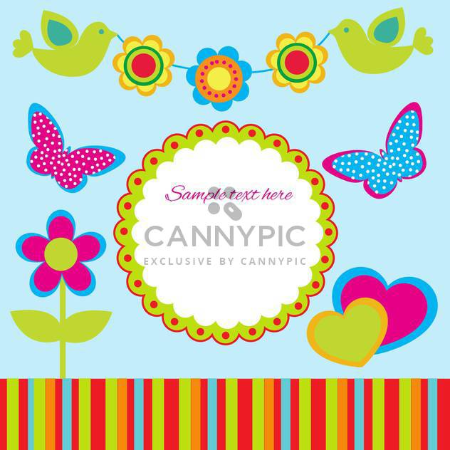 Cute spring frame design with flowers, birds and butterflies, vector illustration - Free vector #128212