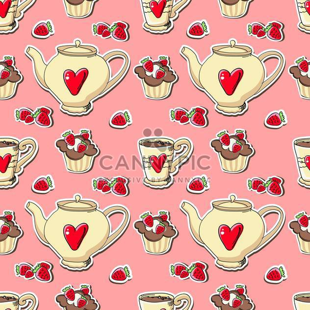 Vector cupcakes and teapots background - Free vector #128222