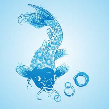blue catfish vector icon in the water - vector gratuit #128252