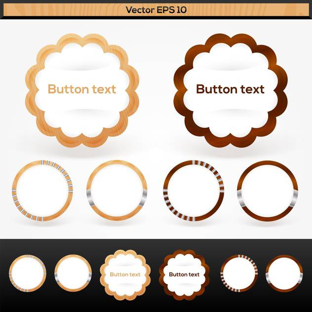 Set with vector wooden text buttons - Free vector #128352