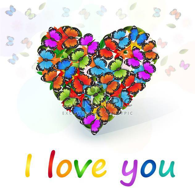 Vector heart full of colored butterflies - Free vector #128442