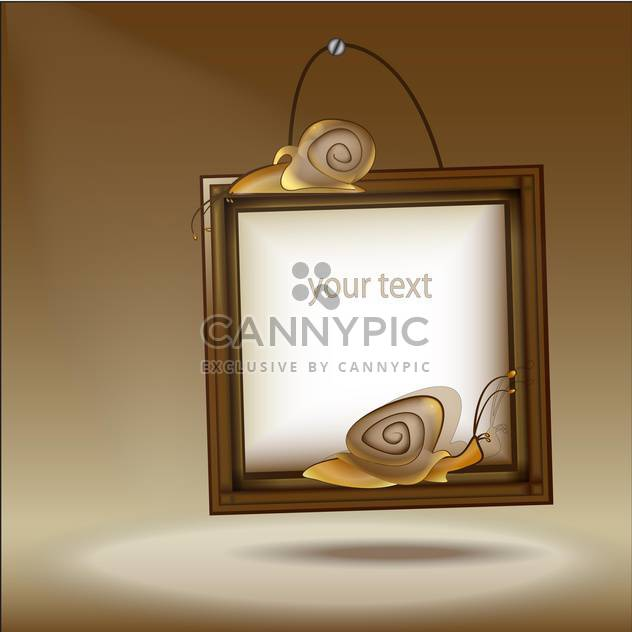 Vector illustration of wooden frame with snails - Free vector #128512