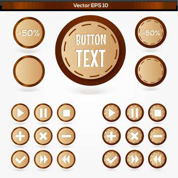 Vector set of round wooden media player buttons - vector gratuit #128522