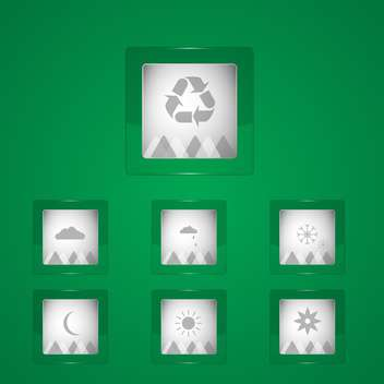 Vector Weather icons on green background - vector gratuit #128582
