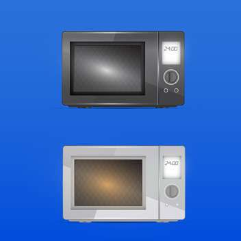 Vector illustration of black and white microwaves on blue background - vector gratuit #128602