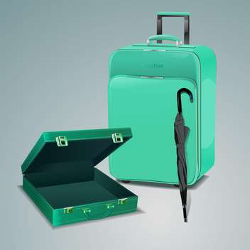 Vector illustration of pile of luggage and green travel bag with umbrella. - vector gratuit #128632