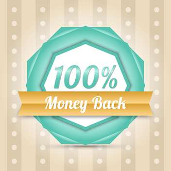 Vector blue money back label - vector gratuit #128642