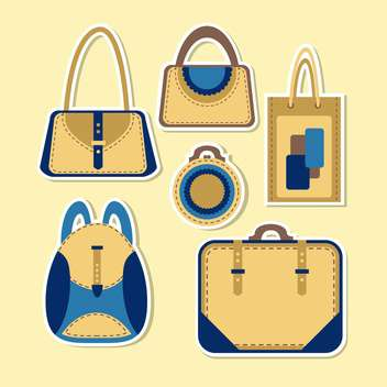 Vector set of cartoon woman's bag. - Free vector #128652