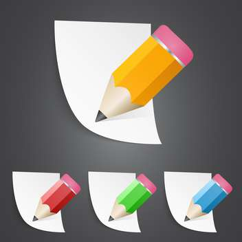 Vector illustration of sharpened fat pencils with paper pages - vector gratuit #128662