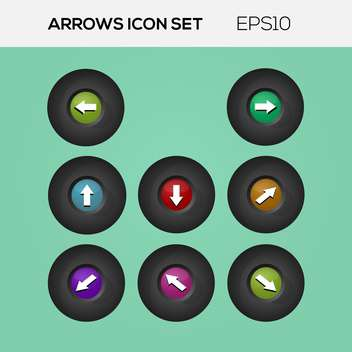 Vector set of arrows in circle buttons - vector gratuit #128682