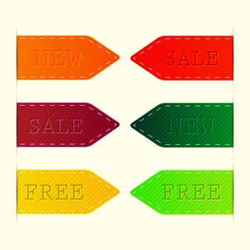 Vector set of colorful labels - sale, new, free - vector gratuit #128692