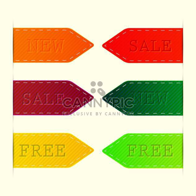 Vector set of colorful labels - sale, new, free - Free vector #128692