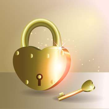 Vector illustration of golden lock and a heart shaped key - vector gratuit #128792