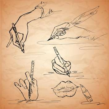 Vector illustrations of an hand writing with a feather pen, lips, lipstick - Free vector #128812