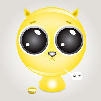 Cute hungry kitten near the cat's food bowl - Free vector #128822