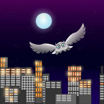 Vector illustration of flying owl in the night sky with moon - Free vector #128872