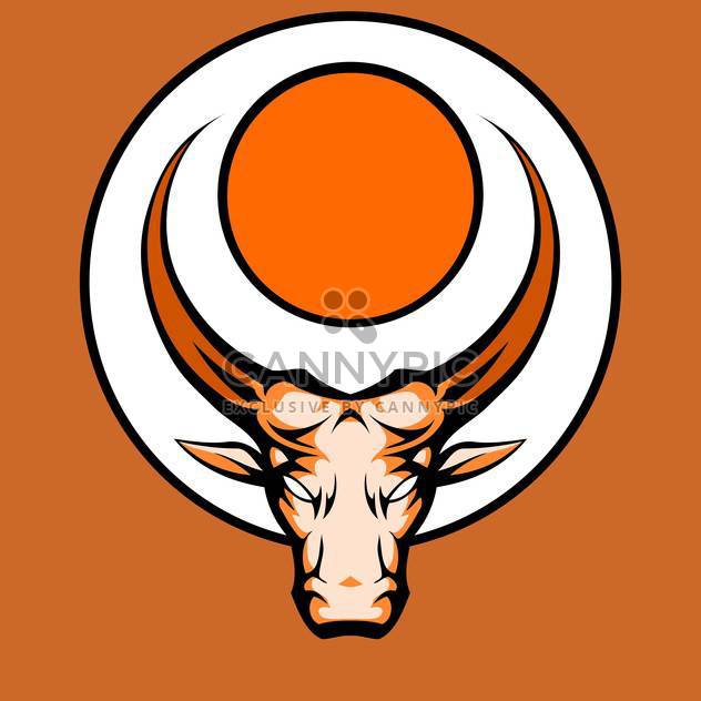 Vector illustration of bull graphic mascot head with horns - Free vector #128892