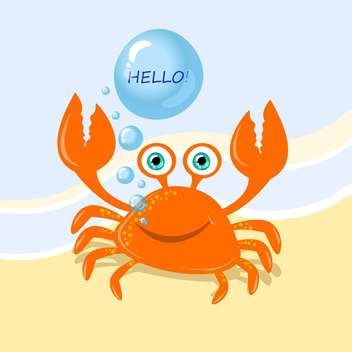Funny cartoon crab with greeting message - vector gratuit #128932