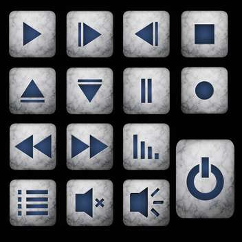 media player grey buttons set - vector gratuit #128992