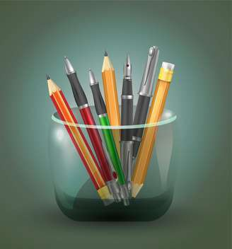 set icons of pens and pencils - vector gratuit #129062