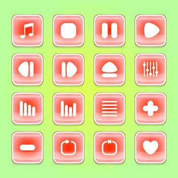 media web vector buttons set - vector gratuit #129072