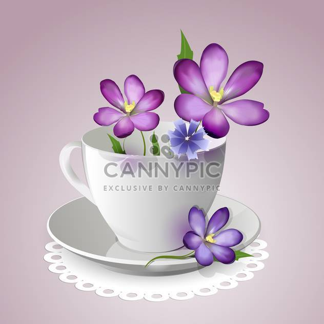 teacup with vector violet flowers - Free vector #129132