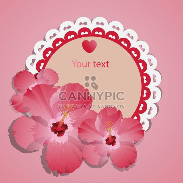 vector lace frame with pink flowers - Free vector #129242
