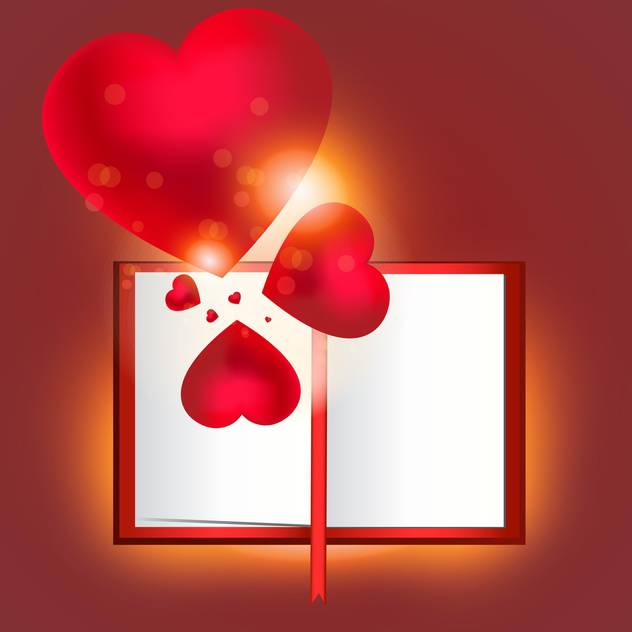 vector opened book and hearts - vector gratuit #129262