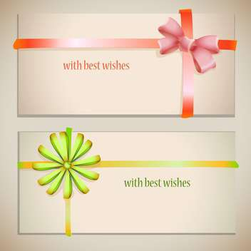 Vector greeting cards with bows and ribbons - Free vector #129282