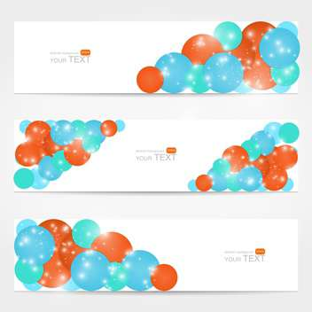Abstract vector white cards with colorful circles - vector gratuit #129292
