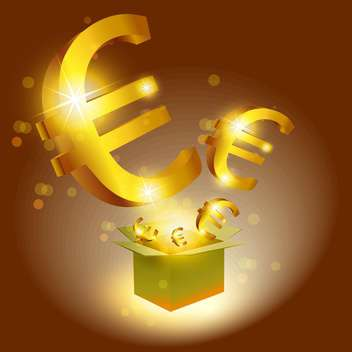 Vector illustration of golden Euro signs with box - vector gratuit #129342