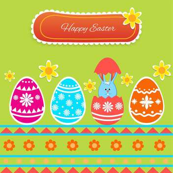 Vector Happy Easter greeting card with eggs and bunny on green background - Free vector #129352
